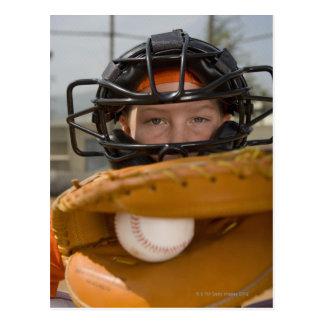 Portrait of little league catcher postcard