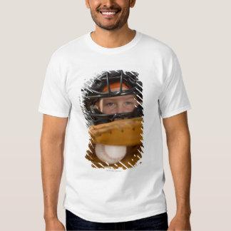 Portrait of little league catcher t shirt