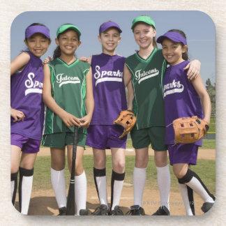 Portrait of little league teams beverage coaster
