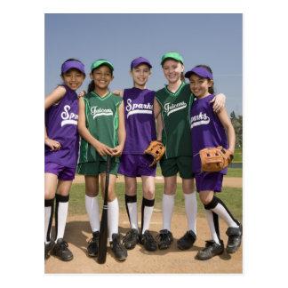 Portrait of little league teams postcard