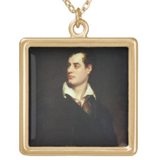 Portrait of Lord Byron (1788-1824) (oil on canvas) Gold Plated Necklace
