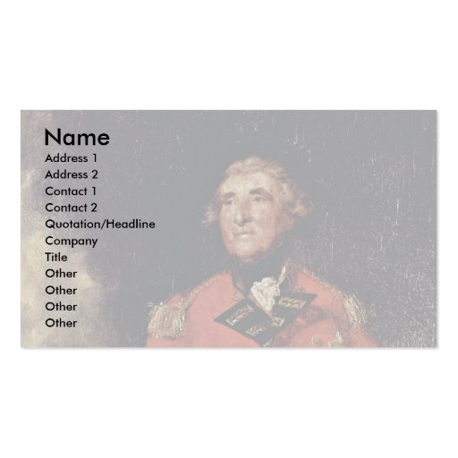 Portrait Of Lord Heathfield Governor Of Gibraltar Business Card Template