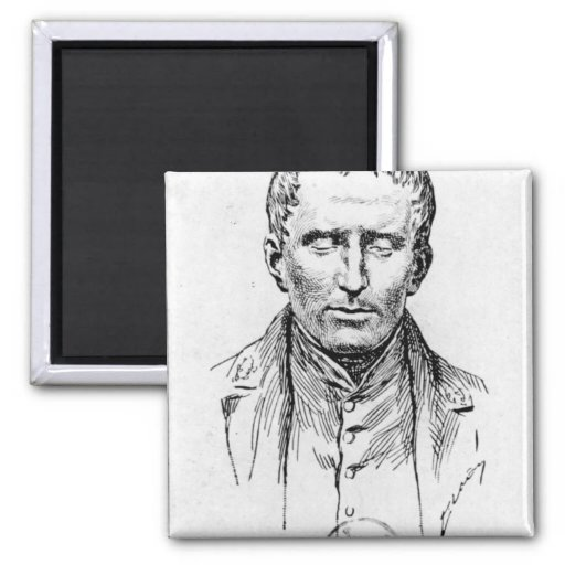 Portrait of Louis Braille 2 Inch Square Magnet