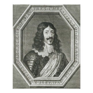 Portrait of Louis XIII  engraving by Jean Morin Poster