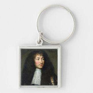 Portrait of Louis XIV Silver-Colored Square Keychain