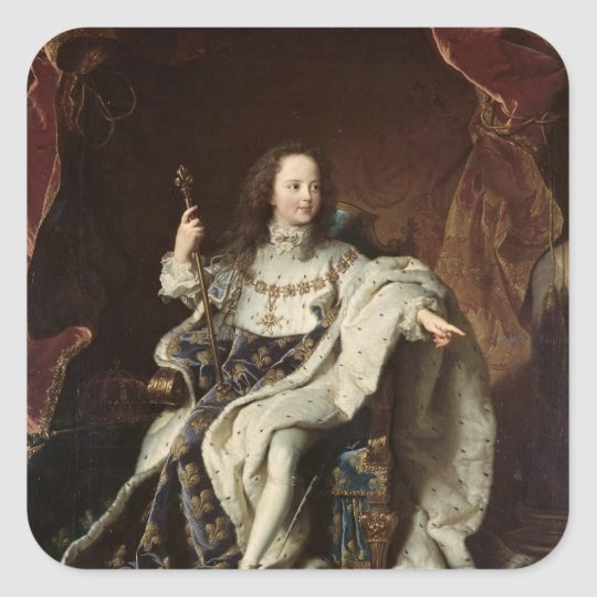 Portrait of Louis XV  in Coronation Robes, 1715 Square Sticker