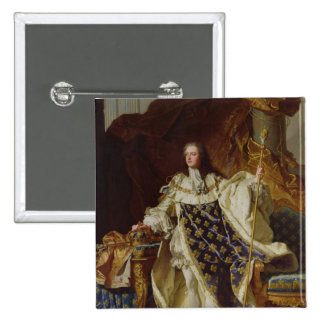 Portrait of Louis XV in his Coronation Robes 2 Inch Square Button