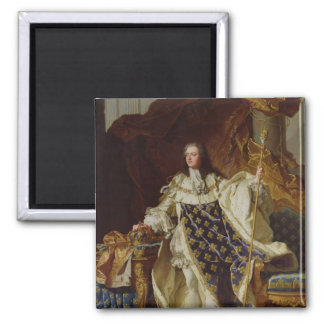 Portrait of Louis XV in his Coronation Robes 2 Inch Square Magnet