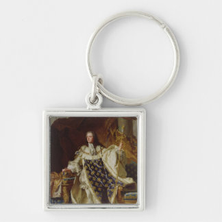 Portrait of Louis XV in his Coronation Robes Silver-Colored Square Keychain