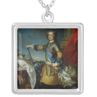 Portrait of Louis XV  King of France, c.1727 Square Pendant Necklace