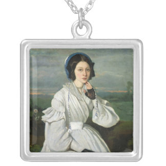 Portrait of Louise Claire Sennegon Silver Plated Necklace