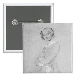 Portrait of Louise d'Haussonville, 1842 2 Inch Square Button