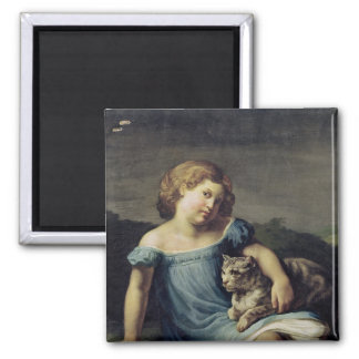 Portrait of Louise Vernet as a Child, 1818-19 2 Inch Square Magnet