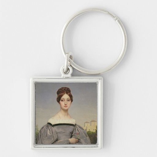 Portrait of Louise Vernet  Daughter of the Silver-Colored Square Keychain