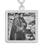 Portrait of Luca Signorelli and Fra Angelico Square Pendant Necklace