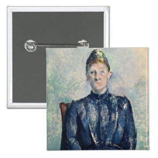Portrait of Madame Cezanne, c.1890 (oil on canvas) Pinback Button