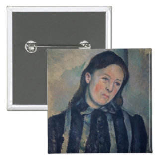 Portrait of Madame Cezanne with Loosened Hair, 189 2 Inch Square Button