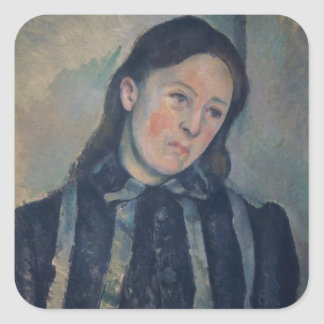 Portrait of Madame Cezanne with Loosened Hair, 189 Square Sticker