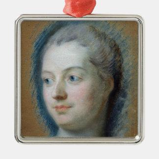 Portrait of Madame de Pompadour  1752 Square Metal Christmas Ornament