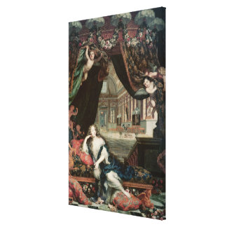 Portrait of Madame de reclining in front Canvas Print