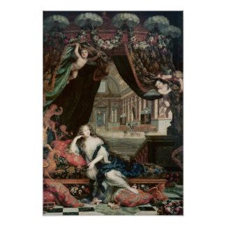 Portrait of Madame de reclining in front Poster