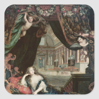 Portrait of Madame de reclining in front Square Sticker