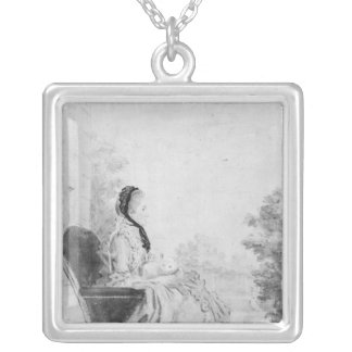 Portrait of Madame du Deffand, 1760 Silver Plated Necklace