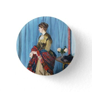 Portrait of Madame Gaudibert Claude Monet Button
