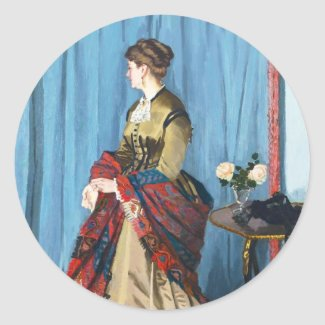 Portrait of Madame Gaudibert Claude Monet Round Stickers