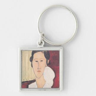 Portrait of Madame Hanka Zborowska, 1917 Silver-Colored Square Keychain
