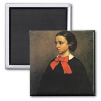 Portrait of Madame Jacquet (oil on canvas) 2 Inch Square Magnet