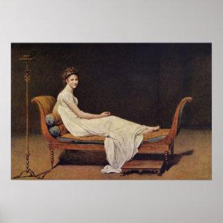 Portrait of Madame Recamier by Jacques-Louis David Poster