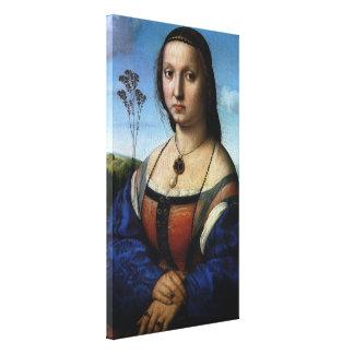 Portrait of Maddalena Doni by Raphael or Raffaello Stretched Canvas Print