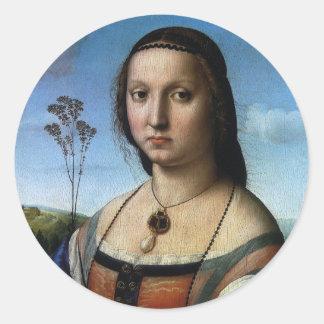 Portrait of Maddalena Doni by Raphael or Raffaello Classic Round Sticker