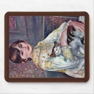 Portrait Of Mademoiselle Julie Manet With Cat Mouse Pad