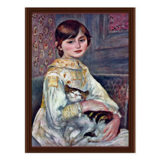 Portrait Of Mademoiselle Julie Manet With Cat Postcard