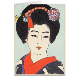 Portrait of Maiko Shunsen Natori japanese fine art Greeting Card