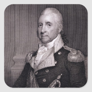 Portrait of Major General John Brooks, engraved by Square Sticker