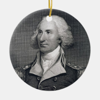 Portrait of Major General Philip Schuyler, engrave Double-Sided Ceramic Round Christmas Ornament
