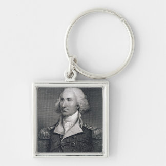 Portrait of Major General Philip Schuyler, engrave Silver-Colored Square Keychain
