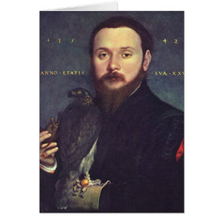 Portrait of Man and Falcon Card