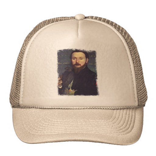 Portrait of Man and Falcon Mesh Hats