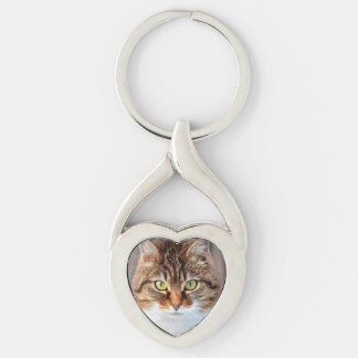 Portrait of Manx Cat Green-Eyed Silver-Colored Heart-Shaped Metal Keychain