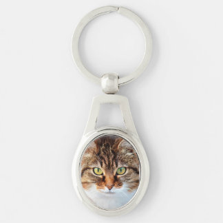 Portrait of Manx Cat Green-Eyed Silver-Colored Oval Metal Keychain