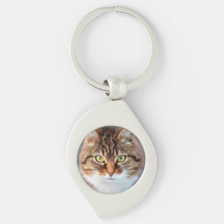 Portrait of Manx Cat Green-Eyed Silver-Colored Swirl Metal Keychain