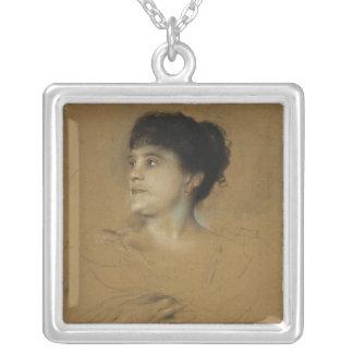 Portrait of Marcella Sembrich, 1891 Silver Plated Necklace
