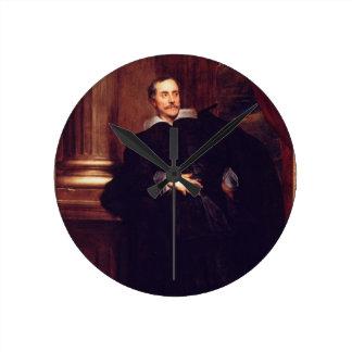 Portrait of Marcello Durazzo (oil on canvas) Round Clock