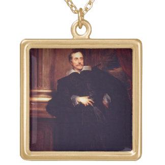 Portrait of Marcello Durazzo (oil on canvas) Square Pendant Necklace