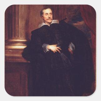 Portrait of Marcello Durazzo (oil on canvas) Square Sticker