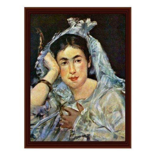 Portrait Of Marguerite De Conflans With Hood Postcards
